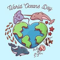 Hand drawn world oceans day design with heart globe