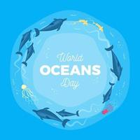 Cartel del día mundial de los océanos con criaturas marinas vector