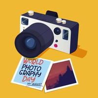 World photography day design with pictures and camera