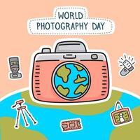 Hand drawn world photography day design vector