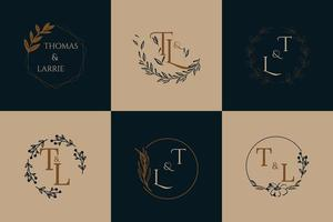 Amazing Blue and Beige Luxury Logo Set for Wedding vector