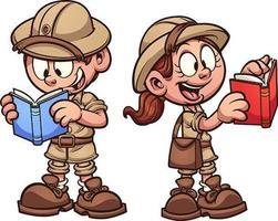 conjunto de niños de safari de estilo de dibujos animados vector