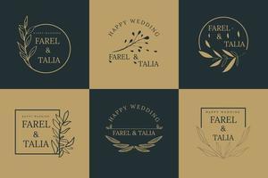 conjunto de logotipo de estilo floral vetor