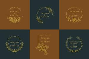 Yellow Rounded Floral Luxury Wedding Logo Set vector