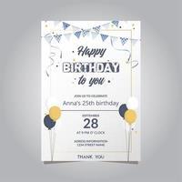 invitation de joyeux anniversaire avec ballons et banderoles