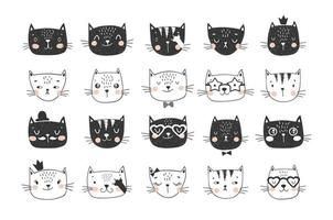 Cute cat faces doodle collection for stickers