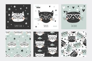 Cat faces card and seamless pattern set  vector