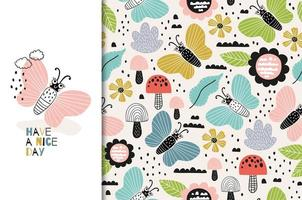 Colorful butterfly pattern with have a nice day quote vector
