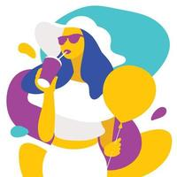Colorful design with drinking woman vector