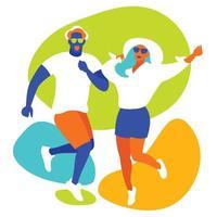design colorido com homem e mulher dançando