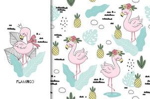 Cute flamingo princess with crown seamless pattern