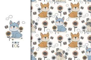 Dog and flowers design and seamless pattern  vector