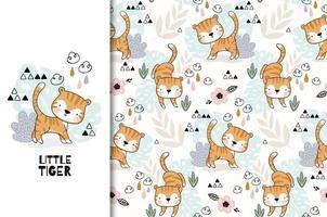 pequeño diseño de dibujos animados de tigre y patrones sin fisuras