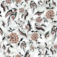 Floral Dreamy Garden Pattern with Fantasy Birds vector