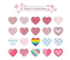 colección de corazones estampados de colores