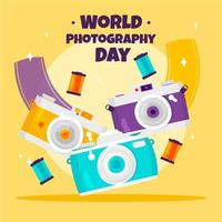 World photography day poster with lots of cameras vector