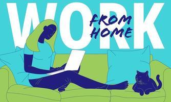 femme, travailler maison, sur, ordinateur portable