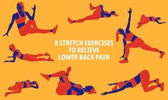 Poster with exercises to relieve lower back pain  vector