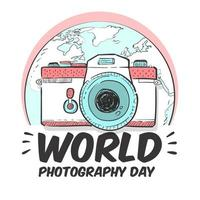 World photography day poster with camera and earth vector