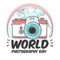 cartaz do dia mundial da fotografia com câmera e terra