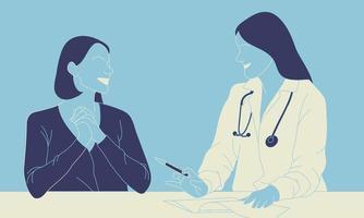 mulher e médico discutindo questões de saúde vetor