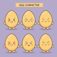 lindos personajes de huevo con diferentes expresiones establecidas vector