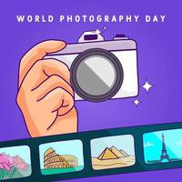 World photography day poster with camera and film vector