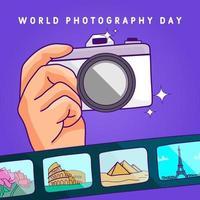 cartaz do dia mundial da fotografia com câmera e filme