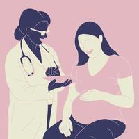 mujer embarazada y doctora vector