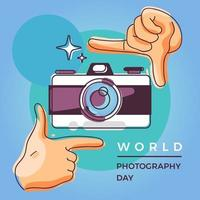 World photography day design with camera and hands vector