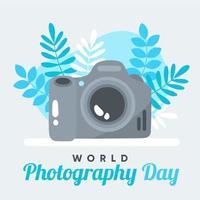 cartaz do dia mundial da fotografia com câmera e folhas azuis