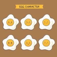 lindo conjunto de caracteres de huevos fritos vector