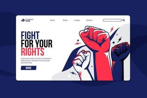 Protest or strike concept landing page vector