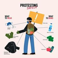 Man Showing How To Protest Safely Infographic vector