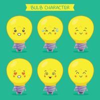 lindos personajes de bulbo con varias expresiones establecidas