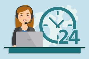 Call center service woman vector