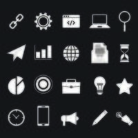 Set of 20 White Business Icons vector