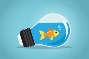 peixe dourado em uma lâmpada vetor