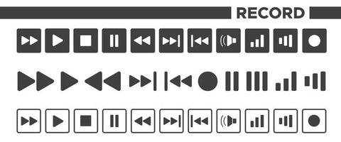 conjunto de ícones de gravação vetor