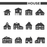 Set Of 12 Gray House Icons