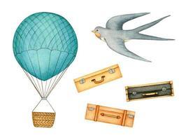 set de viaje con globo aerostático, equipaje y golondrina vector