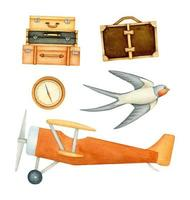Travelling set with airplane, compass, baggage and swallow vector