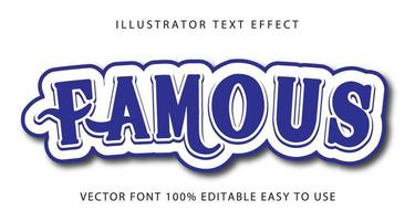 Famous Blue Swirl Text Effect vector