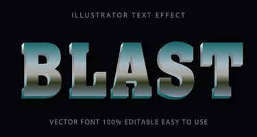 Metallic Silver Blast Text Effect vector