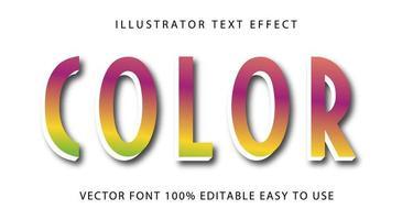 efeito de texto roxo, amarelo e verde