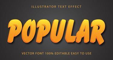 efecto de texto de pincelada amarilla popular vector