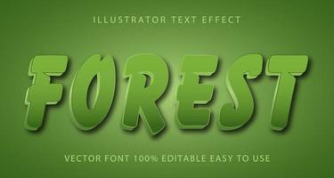 efecto de texto de pincelada de bosque vector