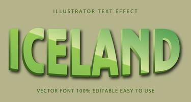 Iceland Metallic Text Effect vector