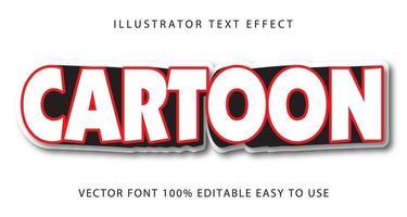 efecto de texto de dibujos animados rojo, blanco