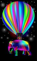 Vibrant, glowing, neon, colorful hot air balloon with elephant